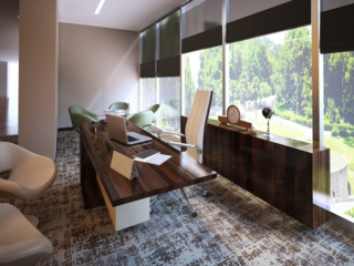 carpeted home office