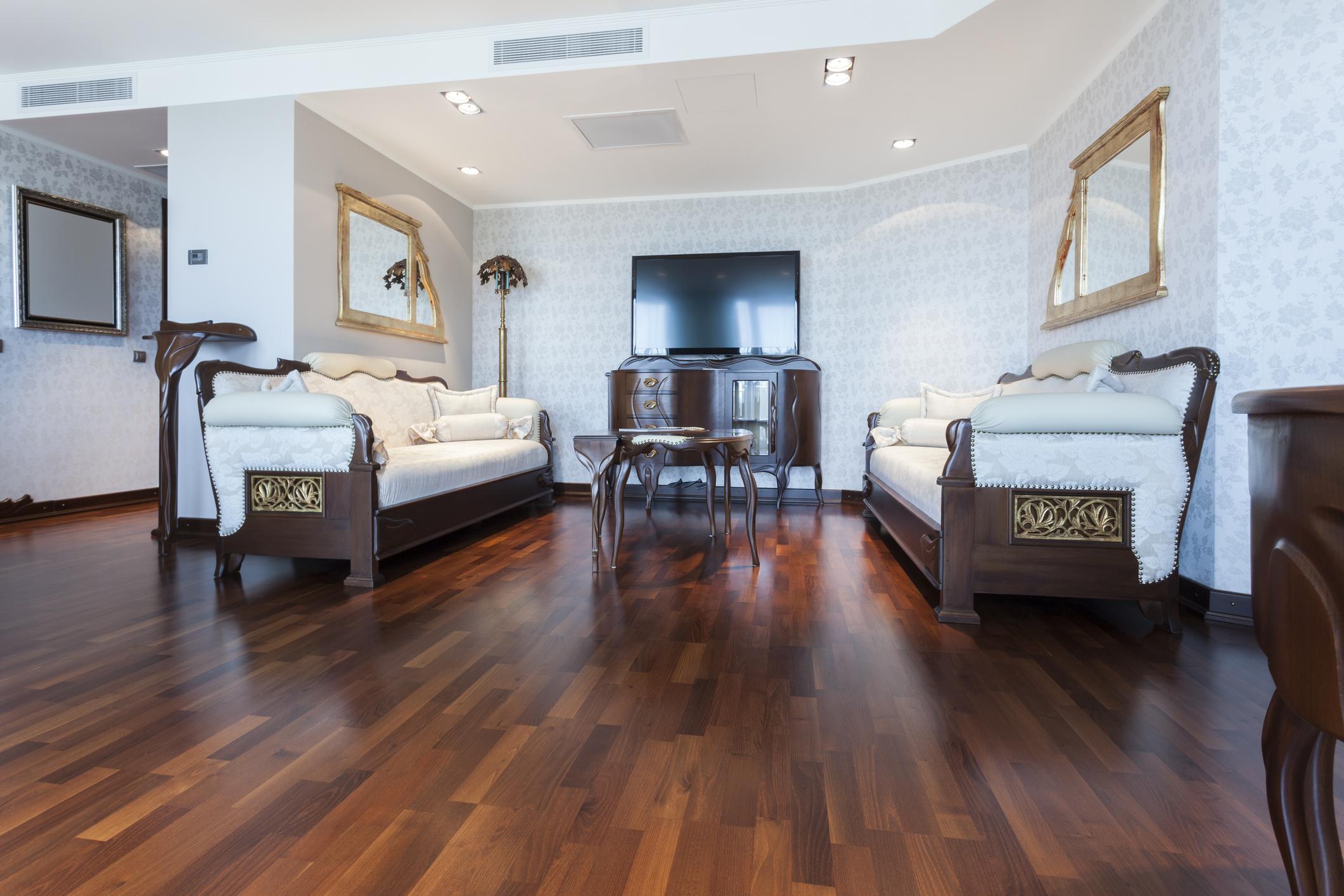 dark hardwood living room